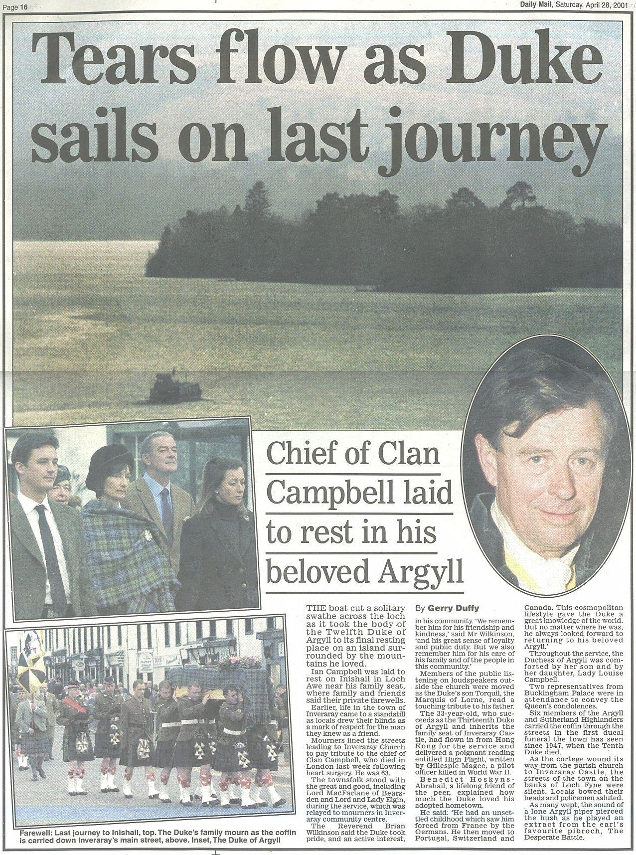 12th Duke of Argyll Daily Mail Obit 28 April 2001