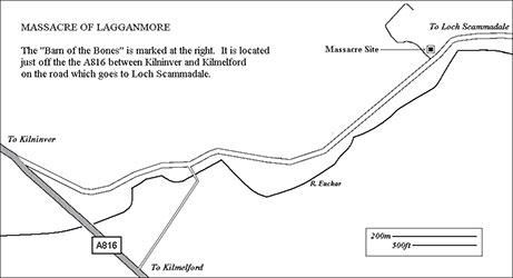 Barn of Bones Massacre of Lagganmore Site Map