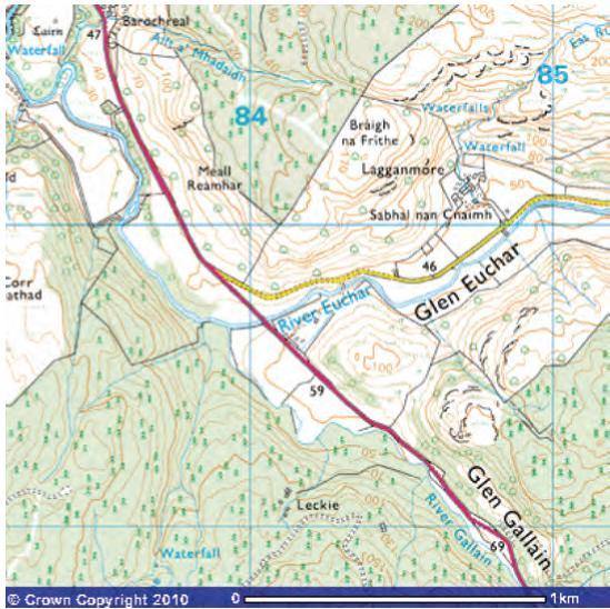 Lagganmore OS (Ordnance Survey) map