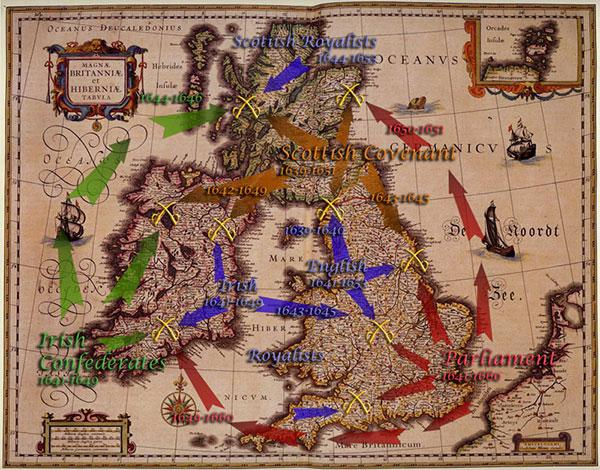 Wars of the Three Kingdoms British Civil Wars Map